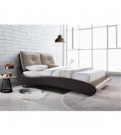 Manželská posteľ, s roštom, ekokoža hnedá/capuccino, 180x200, ARGOS