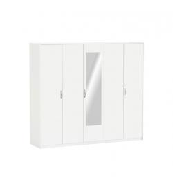 Skriňa 5-dverová so zrkadlom, biela, AMBIAN