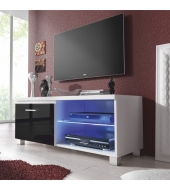 RTV stolík, biela/čierny extra vysoký lesk HG, LUGO 1