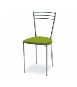Chrómová stolička, zelená ekokoža/kov, LIANA