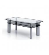 Konferenčný stolík, kov strieborný/sklo čierne a číre, STANLEY TT-585A