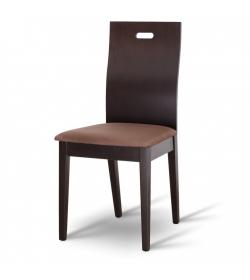 Drevená stolička, wenge/látka tmavo hnedá, ABRIL