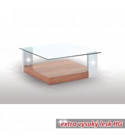 Konferenčný stolík, slivka/biela extra vysoký lesk HG/sklo, EMIL