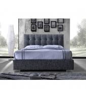 Manželská posteľ s roštom, 160x200, tmavosivá látka, RAGNAR