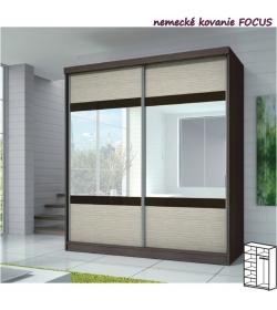 Dvojdverová skriňa, 183x218, s posuvnými dverami, dub cambridge/drevo kubánske/zrkadlo, MULTI 3