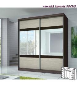 Dvojdverová skriňa, 233x218, s posuvnými dverami, dub cambridge/drevo kubánske/zrkadlo/čierne sklo, MULTI 3