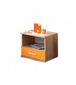Nočný stolík, jednozásuvkový, dub sonoma/oranžová, EMIO Typ 05