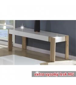 Konferenčný stolík, vysoký biely lesk/dub sonoma, ANDREAS CT