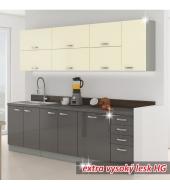 Kuchynská linka, sivá vysoký lesk/krémová vysoký lesk, PRADO